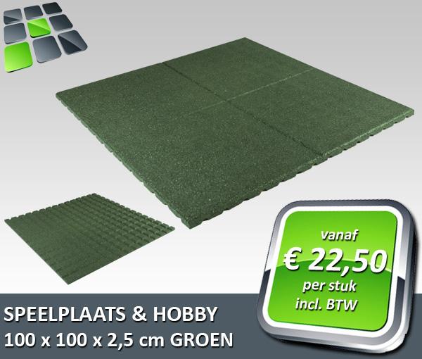 RubbertegelDirect - Aanbieding Speelplaats- Hobbytegel 100x100x2,5 cm Groen 2019