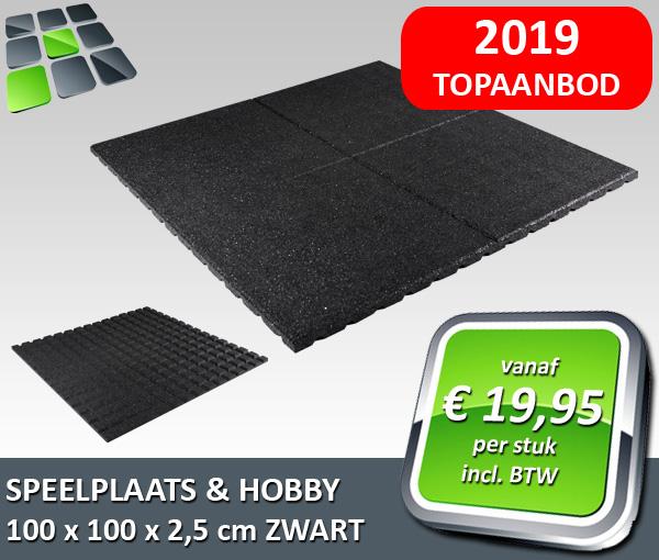 RubbertegelDirect - Aanbieding Speelplaats- Hobbytegel 100x100x2,5 cm Zwart 2019